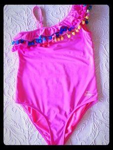 Betsey Johnson Girls Sz 12 Rainbow Pom Pom Suit
